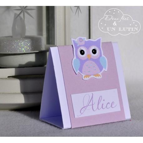 """Marque place """"La chouette d'Alice"""""""
