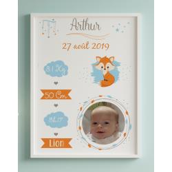 Affiche naissance Renard avec photo