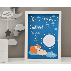 Affiche naissance Renard avec photo et fond coloré