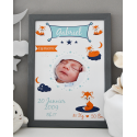 Affiche naissance Renards avec photo