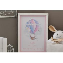 Affiche naissance Montgolfière et chat