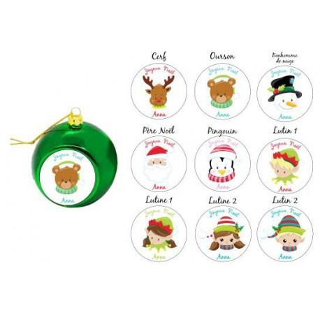 Boule de Noël thème visage de Noël