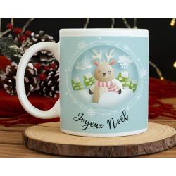 Mug Noël Père Noël et renne dans la neige