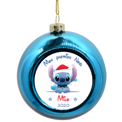 Boule de Noël Stitch avec bonnet de Père Noël