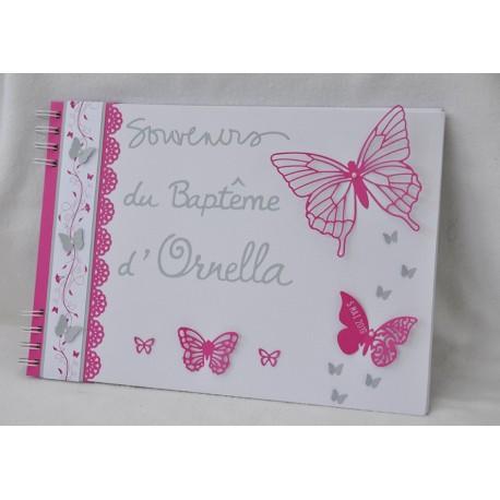 Livre d'or baptême thème papillon