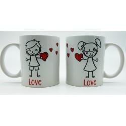 Mug Saint Valentin Amoureux s'échangeant des coeurs